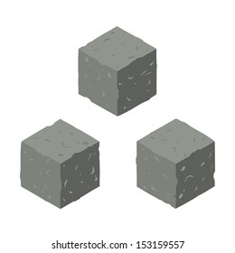 Isometric game brick cubes set. Vector stone cubes design elements for games.