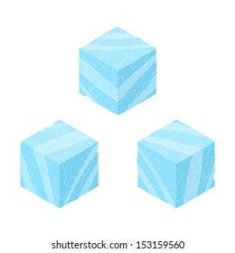 Isometric game brick cubes set. Vector ice cubes design elements for games.
