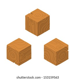 Isometric game brick cubes set. Vector wood cubes design elements for games.