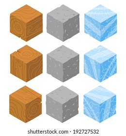 Isometric game brick cubes set. Vector wood, stone and ice cubes design elements for games.