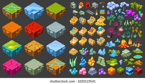 Isometric game landscape icons set with different islands mining industry treasure chests nature elements isolated vector illustration
