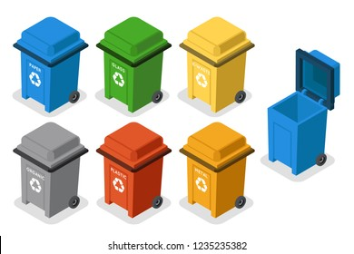 Isometric garbage cans trash separation recycling isolated flat design icons set vector illustration