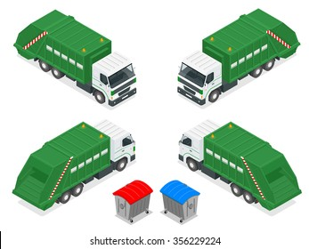Isometric Garbage truck with trash green rubbish recycling symbol icon isolated on white background vector illustration