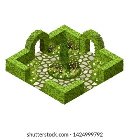 Isometric garden landscape scene. Topiary garden bushes, flowers and grass, paved walks. Use to design garden in classic style  for cartoon or game asset. Isometric view, vector illustration