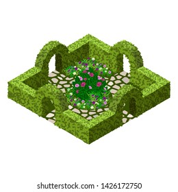 Isometric garden landscape scene. Topiary garden bushes, flowers and grass, paved walks, rose bush. Tto design garden in classic style  for cartoon or game asset. Isometric view, vector illustration