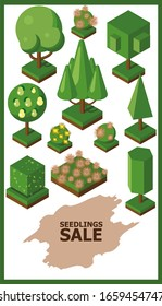 Isometric garden set, vector illustration. Title letters for gardening store brochure cover, gardeners shop poster summer sale. Green trees, bushes and flowers for game or map.