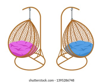 Isometric garden swing set. Place for outdoor recreation isolated on white background.