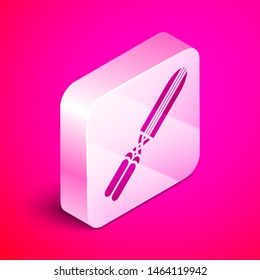 Isometric Gardening handmade scissors for trimming icon isolated on pink background. Pruning shears with wooden handles. Silver square button. Vector Illustration