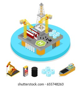 Isometric Gas and Oil Industry. Platform Drilling in Ocean. Fuel Production. Vector flat 3d illustration