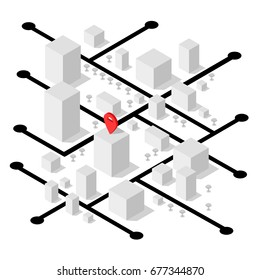Isometric geolocation map with buildings and roads. Minimalistic navigation map. Location with pin pointer. Isometric vector illustration of part some city or town.