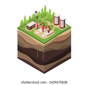 Isometric geology composition with square piece of ground drill rig and profile view of underground layers vector illustration