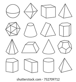 Isometric geometric figures. Geometric drawing of three dimensional objects for math and geometry study. Vector line art illustration isolated on white background
