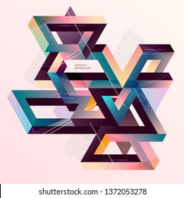 Isometric geometric multicolored composition