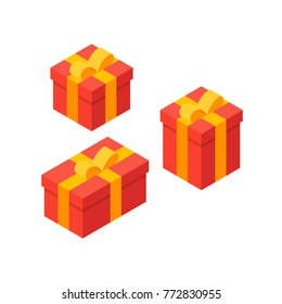 Isometric Gift Box. Red gift boxes in different sizes, flat illustration.