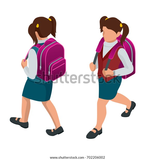 Isometric girl back-to school concept. A student in school uniform goes to school with a backpack. Education. Happy to study. Vector illustration used for workflow layout, banner, game