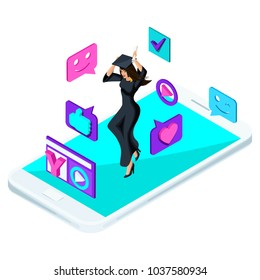 Isometric girl graduate, jumping is happy, academic clothes, diploma, mantle, blog, video, smileys, likes, smartphone