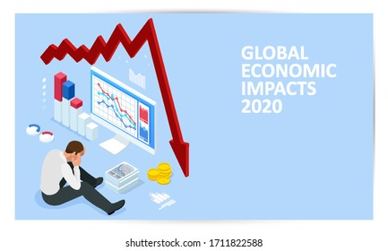 Isometric global economic impacts 2020. Coronavirus or COVID-19 pandemic global impact. Closed border, collapsed world market and economic crisis, panic and food shortages, distance work and studying.