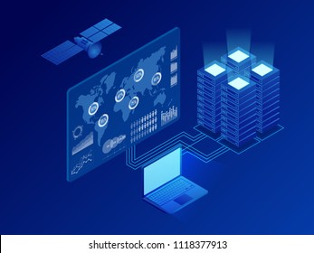 Isometric global information digital network, big data processing, energy station of future, server room rack, data center concept. Vector isometric illustration