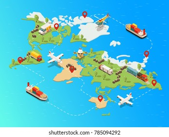 Isometric global logistic network template with truck ship airplane helicopter drone train transporting different goods vector illustration