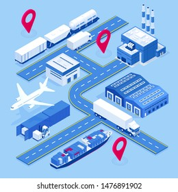 Isometric global logistics network. Air cargo, rail transportation, maritime shipping, warehouse, container ship. On-time delivery. Vehicles designed to carry large numbers cargo