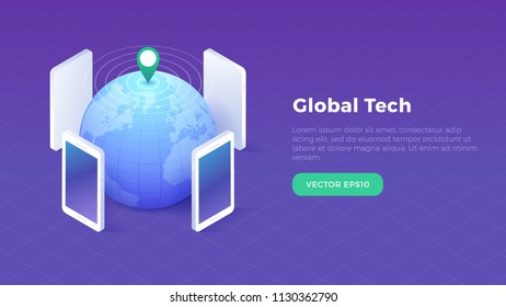 Isometric global technology concept with globe and smartphones with location marker broadcasting data vector illustration