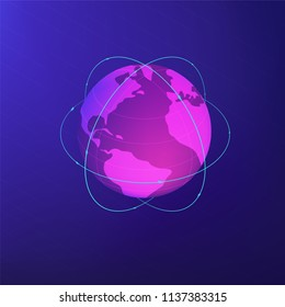 Isometric globe with lines around symbolizing global network connection, communication satellites and navigation system concept on ultra violet background. Vector 3d isometric illustration.