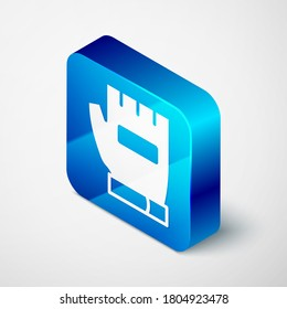 Isometric Gloves icon isolated on grey background. Extreme sport. Sport equipment. Blue square button. Vector.