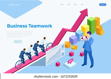 Isometric Goals Setting for Business Team. Creative Idea Teamwork Banner Concept. Business Team Riding Tandem Bicycle. Team success. Business concept illustration.