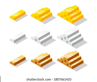 Isometric golden, silver and bronze bars set. Metal bricks or ingot collection isolated on white background