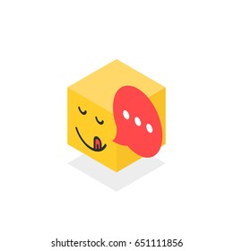 isometric gourmet icon like emoji face isolated on white. simple flat trend modern yellow logotype graphic design. concept of internet notification for cooking site or pictogram of user interface