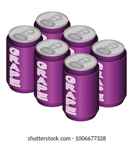 Isometric Grape Can Six Pack