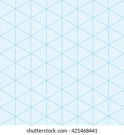 Isometric graph paper for 3D design. Seamless vector pattern.