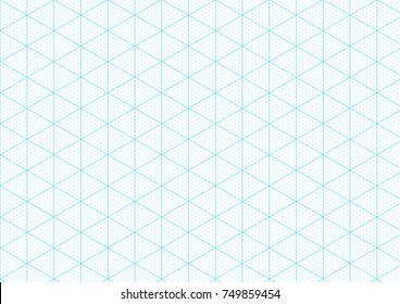 Isometric graph paper background with plotting triangular and hexagonal ruler guide line grid texture for engineering or mechanical layout drawing. Vector A4 graph paper template background.