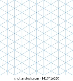 Isometric graph paper background. Seamless pattern. Vector illustration.