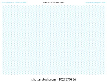 Vector Printable Template With A Blue Triangular Grid For Precise Technical  Drawing