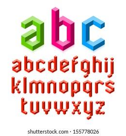 Isometric graphics 3d font. Three-dimensional pixel cube alphabet vector illustration.