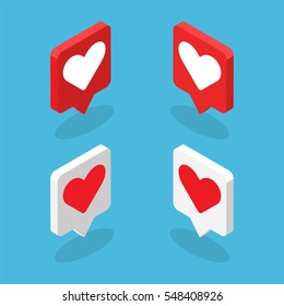 Isometric graphics of heart icons.