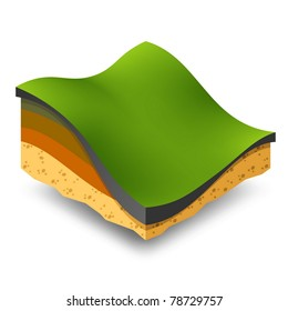 Isometric green hills and meadows.
