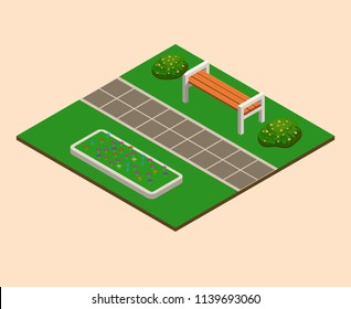 Isometric green summer city park concept,  bushes, benches,  flower beds. Landscaping  composition. Vector illustration