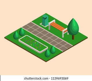 Isometric green summer city park concept,  bushes, benches,  garbage, flower beds. Landscaping  composition. Vector illustration