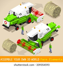 Isometric Green Thresher at Work in Front and Rear View. 3D Isometric Flat Style Farm Vehicle Set.