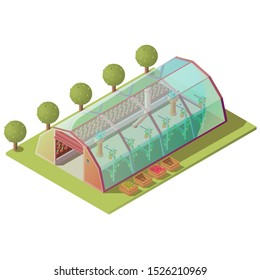Isometric greenhouse, farm building for growing plants and vegetables with glass windows and automatic lifting door isolated on white background. Hothouse exterior 3d vector illustration, clip art