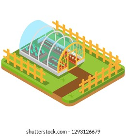 Isometric greenhouse with glass walls, foundations, gable roof, garden bed. Mass farm for growing plants. Horticultural conservatory for vegetables and flowers. Greenhouse cultivate gardening. - Illustration