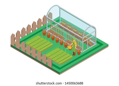 Isometric greenhouse with glass walls, foundations, gable roof, garden bed. Mass farm for growing plants. Suitable for Diagrams, Infographics, Book Illustration, Game Asset, And Other Graphic Related