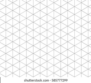Isometric grid gray. Triangle line background .