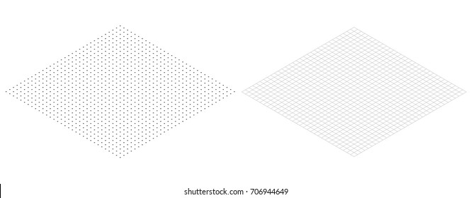 Isometric grid line paper Isometric grid dots vector
