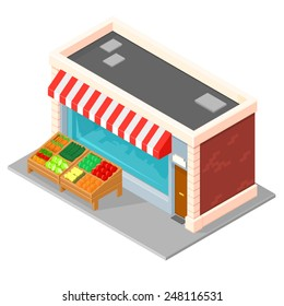 An Isometric grocery shop with stalls outside containing fruit and vegetables. Small Grocery Store. Isometric Isometric grocery.