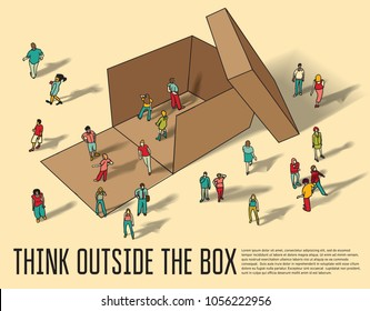 Isometric group business people think outside box.
