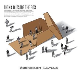 Isometric group business people think outside box grayscale