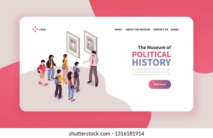 Isometric guide excursion landing page design with clickable text links and view of museum excursion group vector illustration
